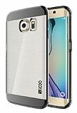 Eiroo Slicoo Samsung Galaxy S6 Edge Dark Silver Metalik Kenarlı Şeffaf Silikon Kılıf
