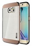 Eiroo Slicoo Samsung Galaxy S6 Edge Rose Gold Metalik Kenarlı Şeffaf Silikon Kılıf