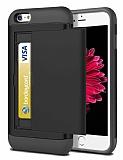 Eiroo Sliding Card iPhone 6 / 6S Ultra Koruma Siyah Kılıf
