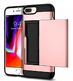 Eiroo Sliding Card iPhone 7 Plus / 8 Plus Ultra Koruma Rose Gold Kılıf
