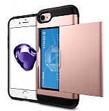 Eiroo Sliding Card iPhone 7 / 8 Ultra Koruma Rose Gold Kılıf