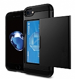 Eiroo Sliding Card iPhone 7 / 8 Ultra Koruma Siyah Kılıf