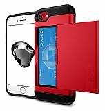 Eiroo Sliding Card iPhone 7 / 8 Ultra Koruma Kırmızı Kılıf