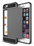 Eiroo Sliding Card iPhone SE / 5 / 5S Ultra Koruma Dark Silver Kılıf