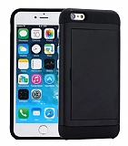 Eiroo Sliding Card iPhone SE / 5 / 5S Ultra Koruma Siyah Kılıf