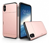 Eiroo Sliding Card iPhone X Ultra Koruma Rose Gold Kılıf