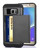 Eiroo Sliding Card Samsung Galaxy Note 5 Ultra Koruma Dark Silver Kılıf