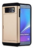 Eiroo Sliding Card Samsung Galaxy Note 5 Ultra Koruma Gold Kılıf