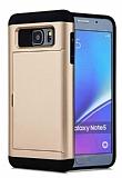 Eiroo Sliding Card Samsung Galaxy Note 5 Ultra Koruma Gold Kılıf