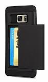 Eiroo Sliding Card Samsung Galaxy S7 Edge Ultra Koruma Siyah Kılıf