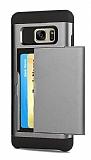 Eiroo Sliding Card Samsung Galaxy S7 Edge Ultra Koruma Dark Silver Kılıf