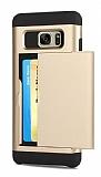 Eiroo Sliding Card Samsung Galaxy S7 Edge Ultra Koruma Gold Kılıf