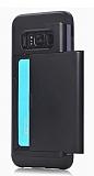 Eiroo Sliding Card Samsung Galaxy S8 Plus Ultra Koruma Siyah Kılıf