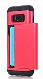 Eiroo Sliding Card Samsung Galaxy S8 Plus Ultra Koruma Kırmızı Kılıf