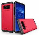 Eiroo Sliding Card Samsung Galaxy Note 8 Ultra Koruma Kırmızı Kılıf