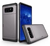 Eiroo Sliding Card Samsung Galaxy Note 8 Ultra Koruma Dark Silver Kılıf