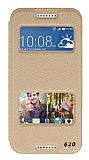 Eiroo Slim Craft HTC Desire 620 Pencereli Standlı Gold Deri Kılıf