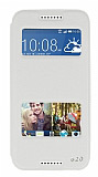 Eiroo Slim Craft HTC Desire 620 Pencereli Standlı Beyaz Deri Kılıf