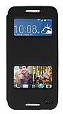 Eiroo Slim Craft HTC Desire 620 Pencereli Standlı Siyah Deri Kılıf
