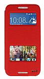 Eiroo Slim Craft HTC Desire 620 Pencereli Standlı Kırmızı Deri Kılıf