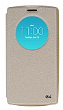 Eiroo Slim Craft LG G4 Pencereli Standlı Gold Deri Kılıf