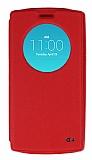 Eiroo Slim Craft LG G4 Pencereli Standlı Kırmızı Deri Kılıf