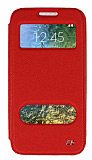 Eiroo Slim Craft Samsung Galaxy E5 Pencereli Standlı Kırmızı Deri Kılıf
