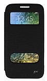 Eiroo Slim Craft Samsung Galaxy E5 Pencereli Standlı Siyah Deri Kılıf