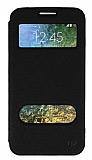 Eiroo Slim Craft Samsung Galaxy E7 Pencereli Standlı Siyah Deri Kılıf