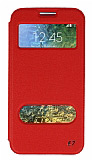 Eiroo Slim Craft Samsung Galaxy E7 Pencereli Standlı Kırmızı Deri Kılıf