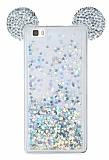 Huawei P8 Lite Sulu Silver Taşlı Kulaklı Kılıf