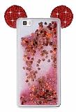 Huawei P8 Lite Sulu Kırmızı Taşlı Kulaklı Kılıf