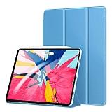 Eiroo Smart iPad Pro 11 Kapaklı Mavi Deri Kılıf