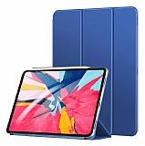 Eiroo Smart iPad Pro 12.9 2018 Kapaklı Lacivert Deri Kılıf
