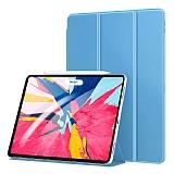 Eiroo Smart iPad Pro 12.9 2018 Kapaklı Mavi Deri Kılıf