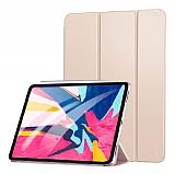 Eiroo Smart iPad Pro 12.9 2018 Kapaklı Gold Deri Kılıf