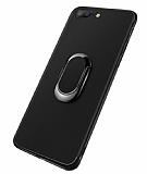 Eiroo Smug iPhone 7 Plus / 8 Plus Selfie Yüzüklü Siyah Kılıf