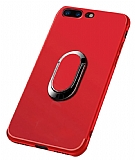 Eiroo Smug iPhone 7 Plus / 8 Plus Selfie Yüzüklü Kırmızı Kılıf