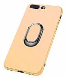 Eiroo Smug iPhone 7 Plus / 8 Plus Selfie Yüzüklü Gold Kılıf