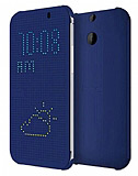 Eiroo Dot View HTC One E8 Uyku Modlu Mavi Kılıf