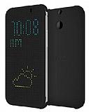 Eiroo Dot View HTC One E8 Uyku Modlu Siyah Kılıf