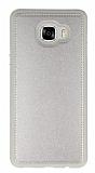 Eiroo Smother Samsung Galaxy C7 SM-C7000 Silikon Kenarlı Gold Deri Kılıf