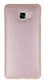 Eiroo Smother Samsung Galaxy C7 SM-C7000 Silikon Kenarlı Pembe Deri Kılıf