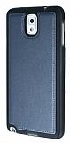 Eiroo Smother Samsung N9000 Galaxy Note 3 Silikon Kenarlı Lacivert Deri Kılıf