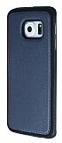 Eiroo Smother Samsung Galaxy S6 edge Silikon Kenarlı Siyah Deri Kılıf