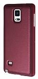 Eiroo Smother Samsung N9100 Galaxy Note 4 Silikon Kenarlı Bordo Deri Kılıf