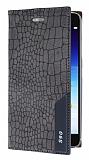 Lenovo S90 Snake Gizli Mıknatıslı Kapaklı Gri Deri Kılıf