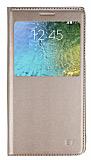 Samsung Galaxy E7 Pencereli İnce Kapaklı Gold Kılıf