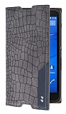 Sony Xperia E4 Snake Gizli Mıknatıslı Yan Kapaklı Gri Deri Kılıf