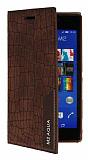 Eiroo Snake Sony Xperia M2 Aqua Gizli Mıknatıslı Yan Kapaklı Kahverengi Deri Kılıf